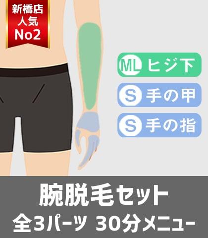 メンズ脱毛フィーゴ新橋店人気No2 ヒジ下脱毛セット